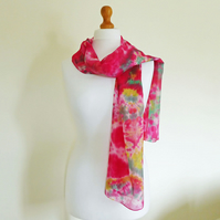 Extra-Long Silk Scarf, Hand-Dyed Silk Habotai, Space-Dyed Scarf