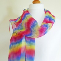 Silk Chiffon Scarf, Extra Long, Hand-dyed Shibori, 100% Silk, Rainbow Stripes