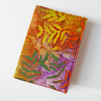 A6 'Batik' Notebook Cover, Lined Notebook, Fabric Book Jacket, Removable Cover