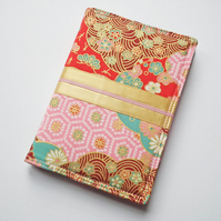 A6 'Kimono' Notebook Cover, Japanese Cotton, Gold Ribbon Trim, Lined Notebook
