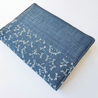 A6 'Indigo' Notebook Cover, Dragonflies Design, Japanese Indigo-Dyed Cotton