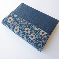 A6 'Indigo' Notebook Cover, Camellia Design, Japanese Indigo-Dyed Cotton