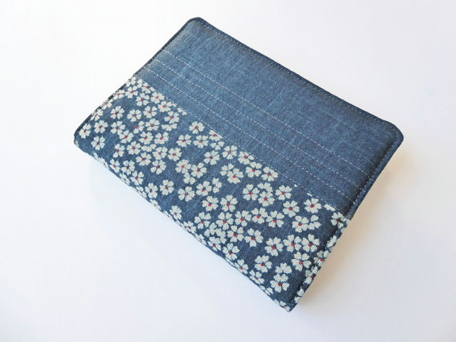 A6 'Indigo' Notebook Cover, Blossom Design, Japanese Indigo-Dyed Cotton