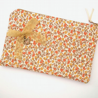 Make Up Bag, Cosmetics Purse, Floral Fabric, Heart Charm, FREE UK P&P
