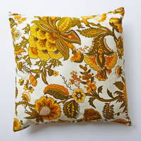 Cushion Cover, Retro Sekers Fabric 'Emma', 40cm Square, Yellow