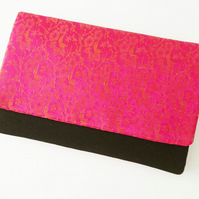 Clutch Bag, Evening Bag, Hot Pink Silk Brocade, Black Velvet