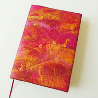 A5 Felt Journal Cover, Sketchbook or Notebook, Handmade Felt, 'Glow', OOAK