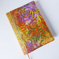 A5 Diary Cover, 2019 Diary, Batik Dyed Cotton, Glittery Gold Ribbon Trim, OOAK