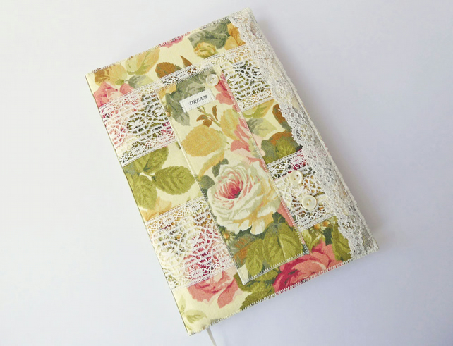 A5 Journal Cover, Sketchbook or Notebook, Fabric Collage, Keepsake Book, OOAK