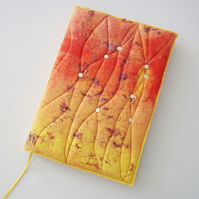 A5 Felt Journal Cover, Sketchbook or Notebook, Handmade Felt, 'Flame', OOAK