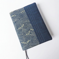 A5 Diary Cover, Planner Cover, 2019 Diary, Wave Design, Indigo-Dyed Cotton