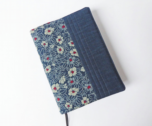 A5 Diary Cover, Planner Cover, 2019 Diary, Camellia Design, Indigo-Dyed Cotton