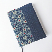 A5 Diary Cover, 2019 Diary, Camellia Design, Japanese Indigo-Dyed Cotton