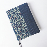A5 Diary Cover, Planner Cover, 2019 Diary, Blossom Design, Indigo-Dyed Cotton