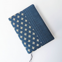 A5 Diary Cover, 2019 Diary, Cross-Hatch Design, Japanese Indigo-Dyed Cotton