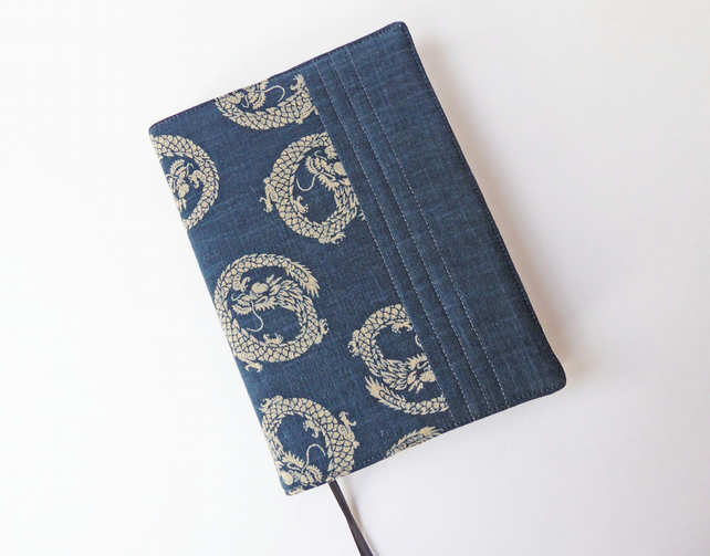 A5 Diary Cover, Planner Cover, 2019 Diary, Dragon Design, Indigo-Dyed Cotton