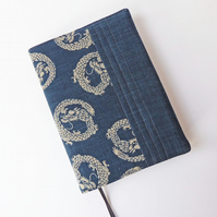 A5 Diary Cover, 2019 Diary, Dragon Design, Japanese Indigo-Dyed Cotton