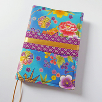 A5 Diary Cover, 2019 Diary, Japanese Fabric, Kimono Style, Gold Ribbon