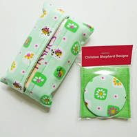 Tissue Case & Pocket Mirror, Handbag Mirror & Tissue Holder, FREE UK P&P