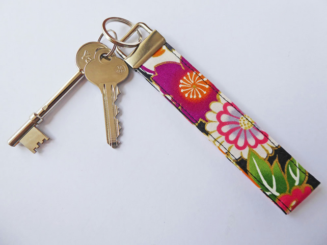 Wristlet Key Fob, Fabric Key Holder, Wrist Strap, Purse Strap, FREE UK P&P