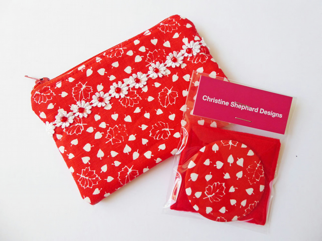 Coin Purse & Pocket Mirror Gift Set, Small Zipped Purse, Handbag Mirror & Pouch