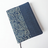 A5 Diary Cover, Planner Cover, 2019 Diary, Scroll Design, Indigo-Dyed Cotton
