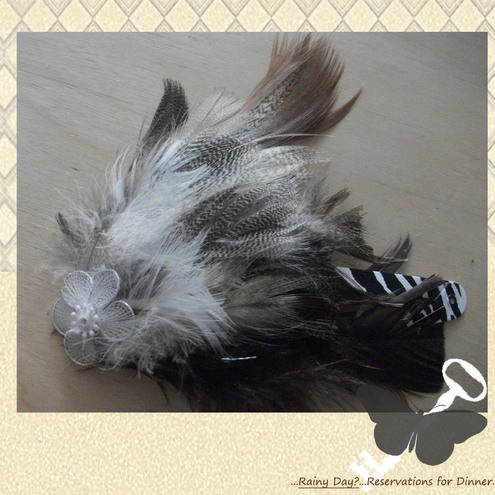 Hand-Made Tan and Brown Feather Hair Clip