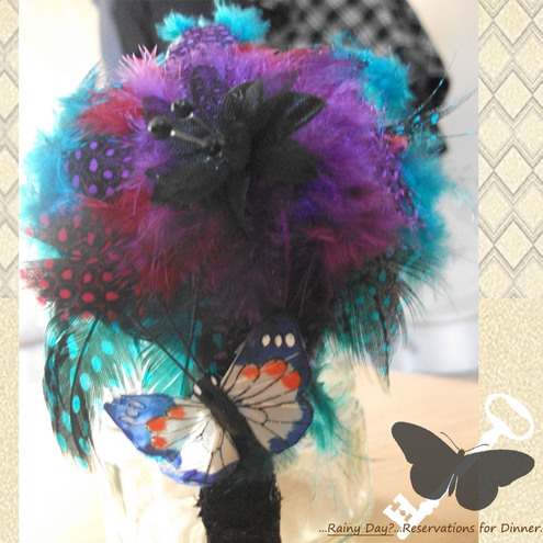 Hand-Made Red, Purple and Blue Feather Head Band, with Embellishments