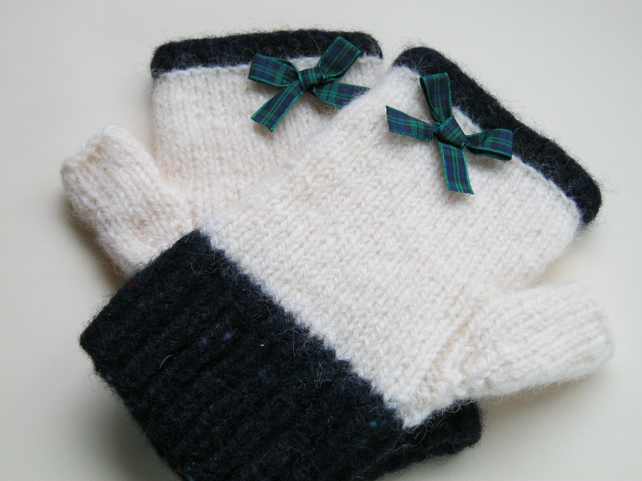 Felted Shetland wool fingerless gloves
