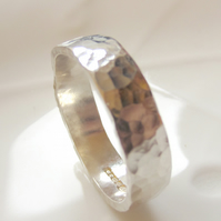 Hammered Ring Sterling silver 5 mm