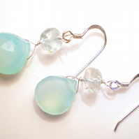 chalcedony and aquamarine silver earrings by Kalicat Jewellery
