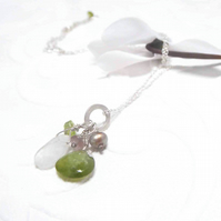 Moonstone and Green garnet cluster necklace