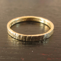 Recycled 18ct yellow gold bark textured wedding band