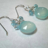 Blue Horizons Aqua Blue Chalcedony and Apatite Earrings in Sterling Silver