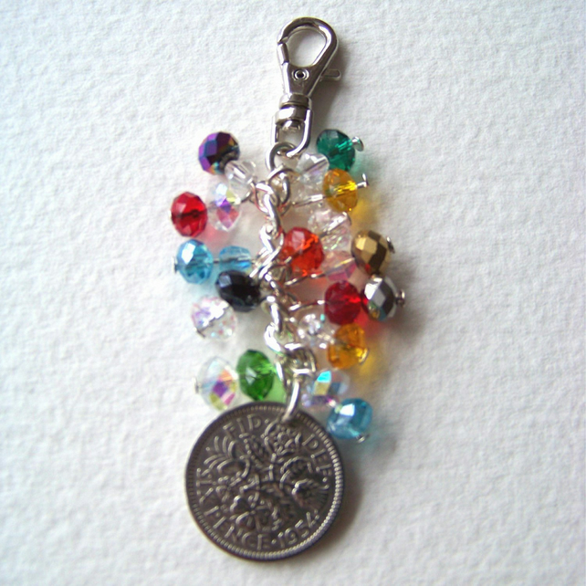 Vintage Lucky Sixpence Bag Charm - Dolly Mixture