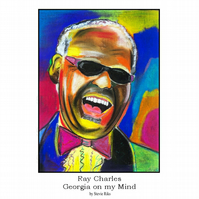 Ray Charles Pastel Painting - A3 Limited Edition Print
