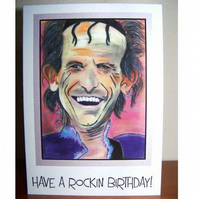 Pop Art Greeting Card - Keith Richards - Birthday