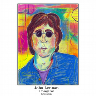 John Lennon (Imagine) Pastel Print  -A3 Signed Limited Edition