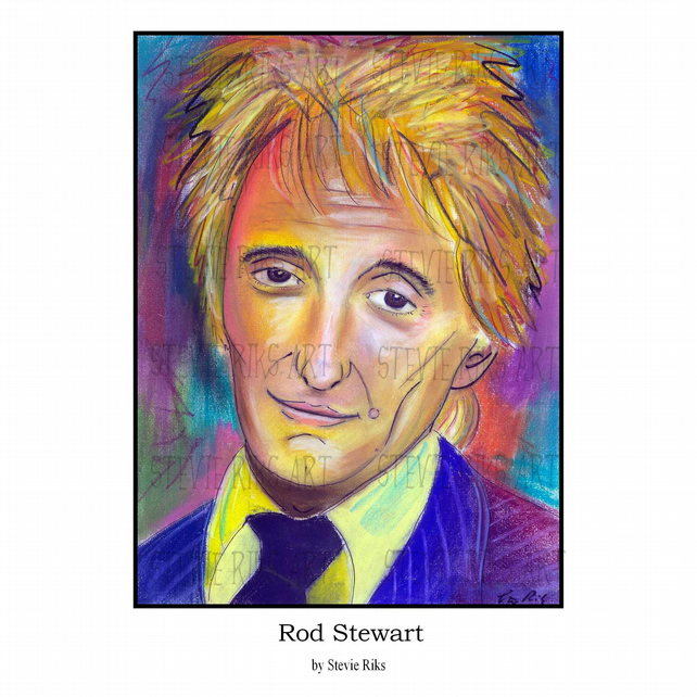 Rod Stewart -  Pastel Print  - A3 Signed Limited Edition
