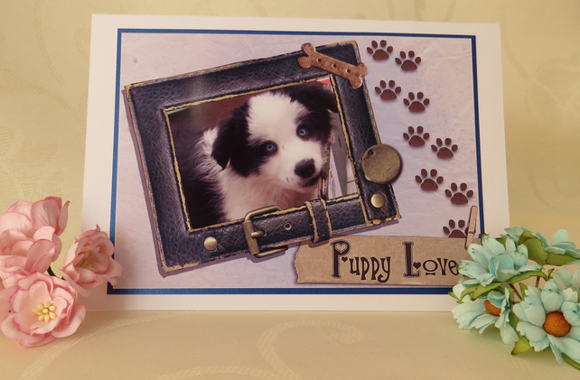 Puppy Love - Border Collie Greeting Card