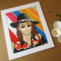 JOHN LENNON - ORIGINAL ART PRINT WITH MOUNT