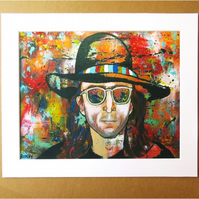 JOHN LENNON ABSTRACT ART PRINT - WITH MOUNT