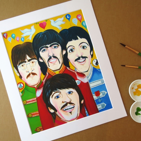 THE BEATLES SUMMER OF LOVE - ART PRINT WITH MOUNT