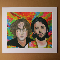 LENNON & McCARTNEY - Two of Us - ART PRINT WITH MOUNT