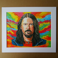 DAVE GROHL - FOO FIGHTERS - ART PRINT WITH MOUNT