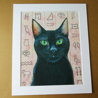 Egyptian Black Cat - Art Print with Mount