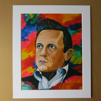 JOHNNY CASH - ART PRINT WITH MOUNT