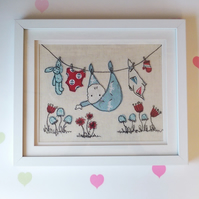 Framed New Baby Embroidered Picture handmade for Baby Shower