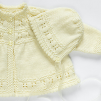 Traditional Style Baby Matinee Coat & Hat Set - Ivory - Hand Knit Hat & Coat.