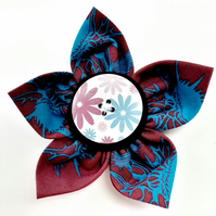 Flower brooch burgundy (lilac floral button)
